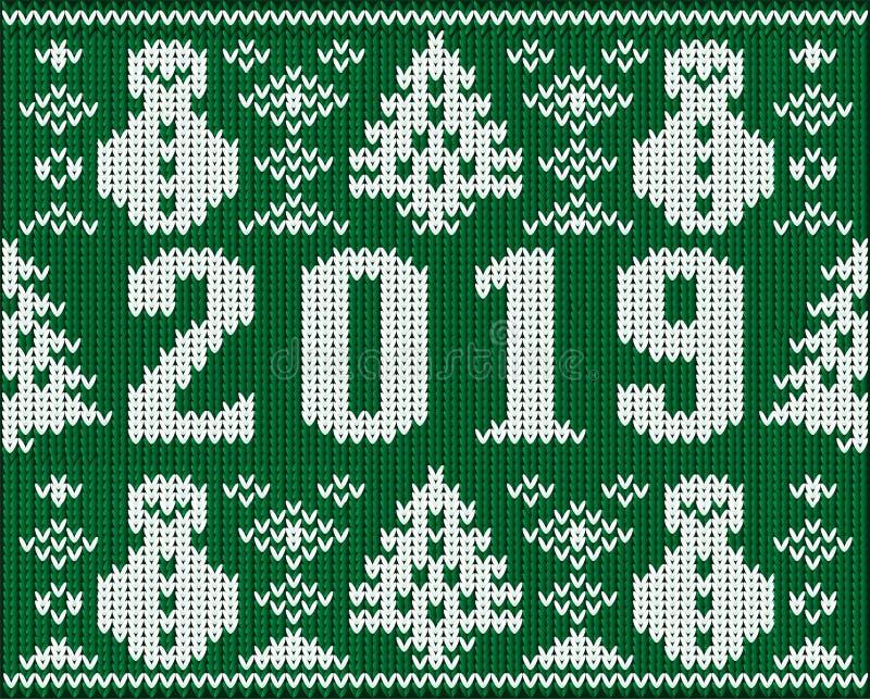 Текстура шлямбура рождества, новый 2019 год связала текстуру иллюстрация вектора