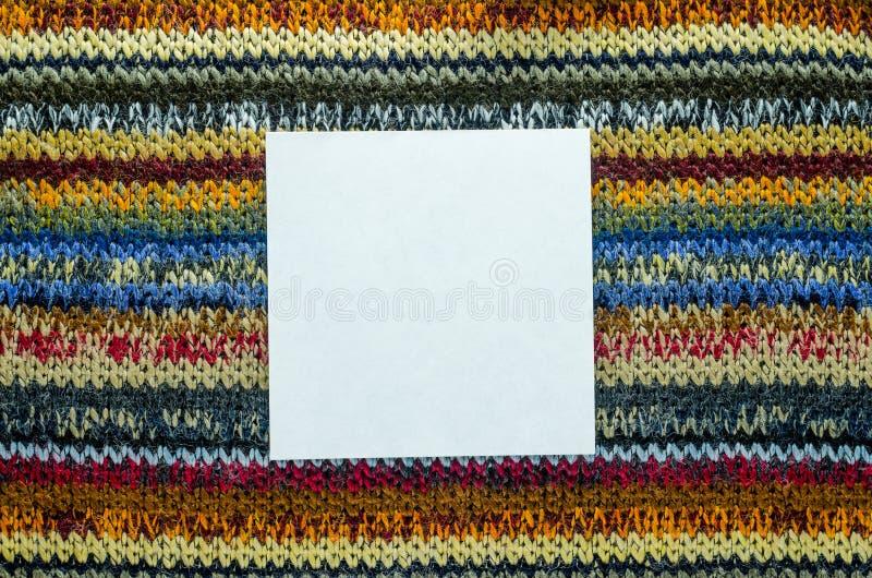 Текстура Knit с белым пустым пространством стоковая фотография