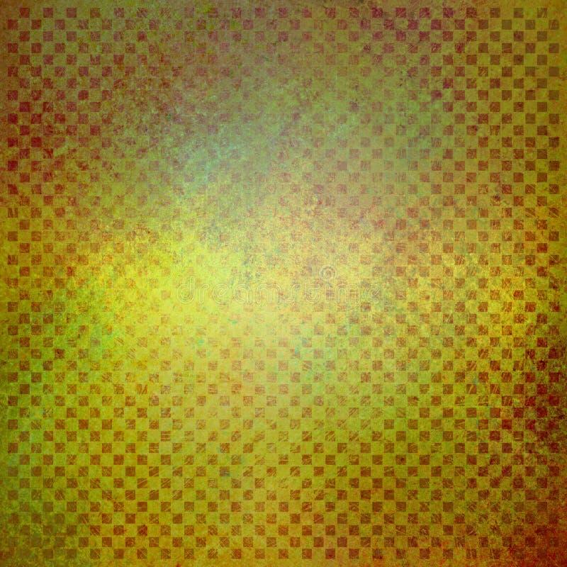 Текстурированная зеленая предпосылка желтого цвета и золота с слабыми детальными блоками красных нашивок или линий текстуры иллюстрация штока