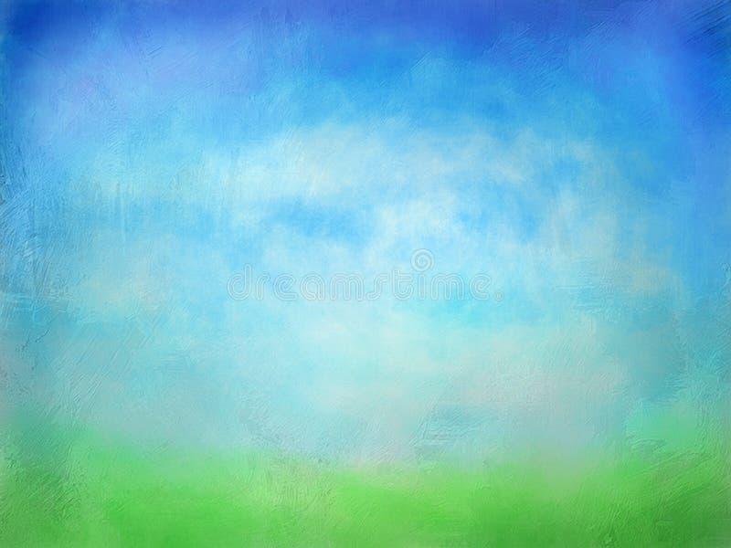 Текстурированная зеленая трава с предпосылкой акварели голубого неба стоковое фото