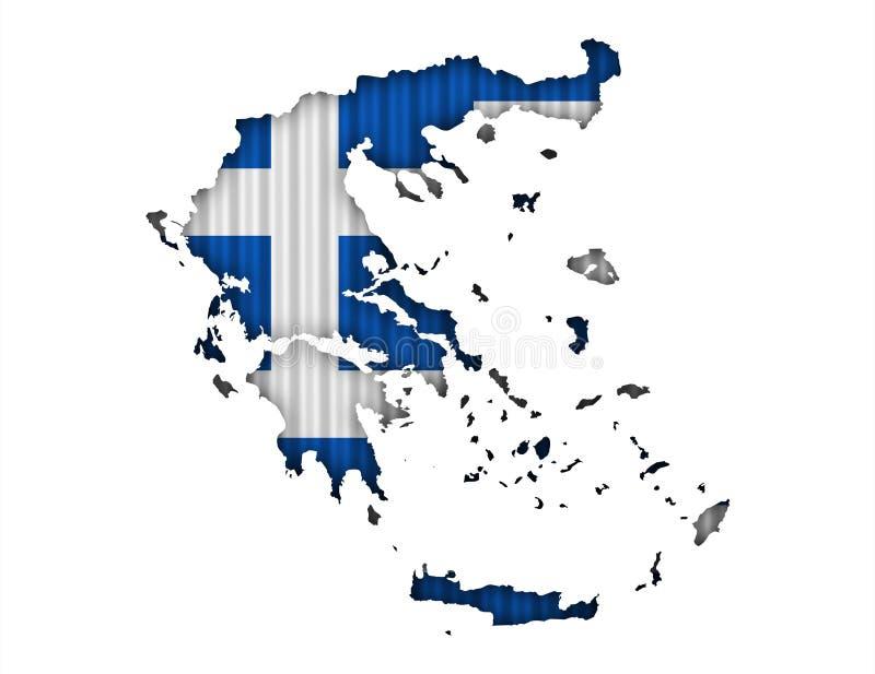 Текстурированная карта Греции в славных цветах иллюстрация штока