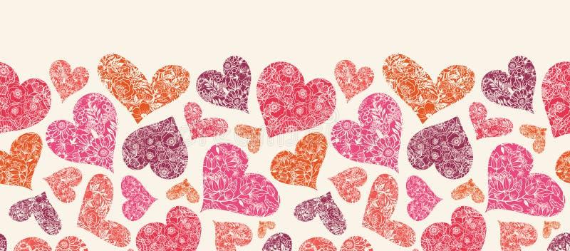 Текстурированная картина красных сердец горизонтальная безшовная бесплатная иллюстрация