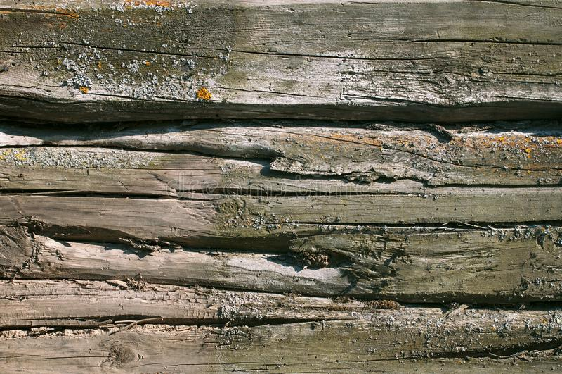 Текстурированная предпосылка старых серых увяданных доск покрыла стоковая фотография