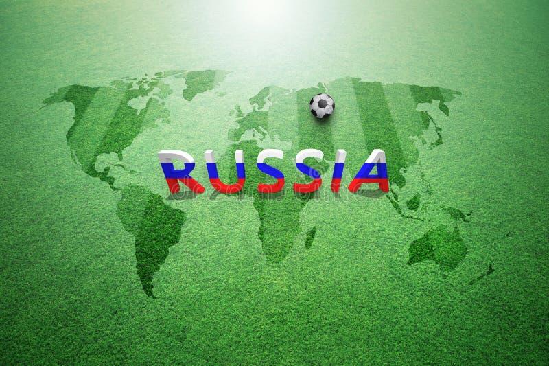 Текстурированная травой карта мира с письмами России бесплатная иллюстрация