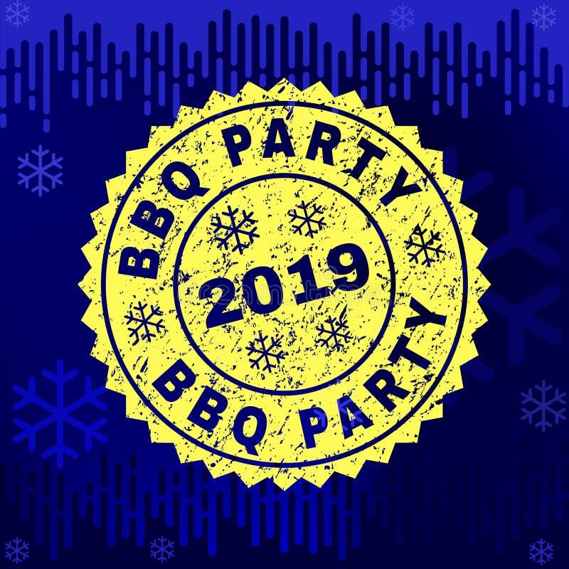 Текстурированное уплотнение печати ПАРТИИ BBQ на предпосылке зимы иллюстрация вектора