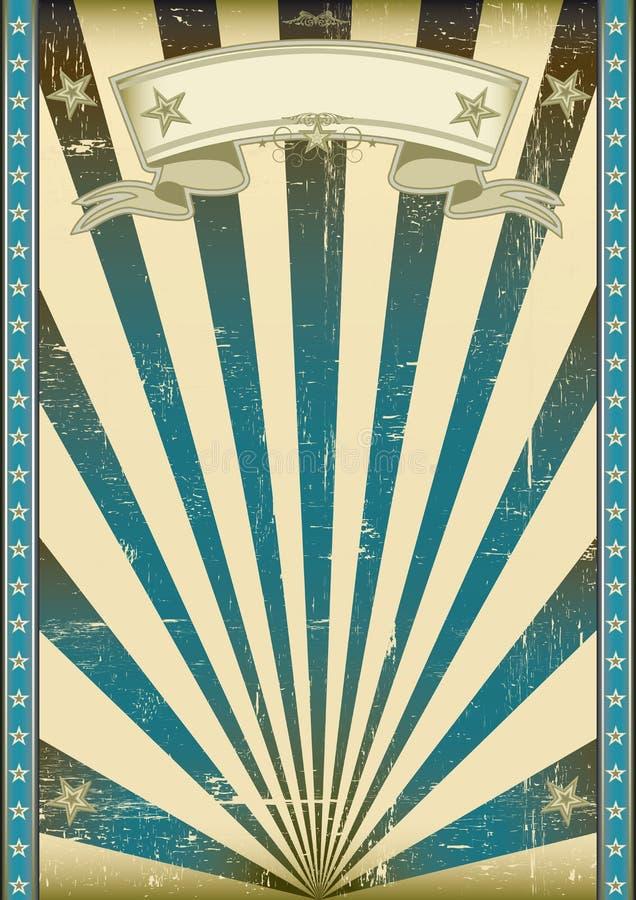 Текстурированный голубой ретро плакат иллюстрация вектора