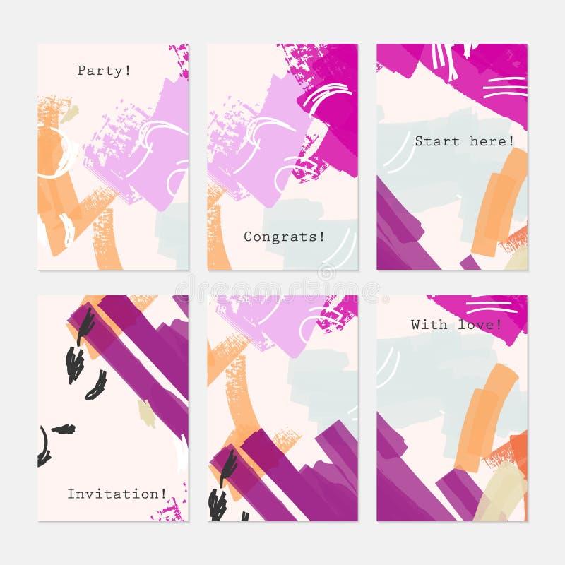 Текстурированный конспект штрихует яркие фиолетовое и cream иллюстрация штока