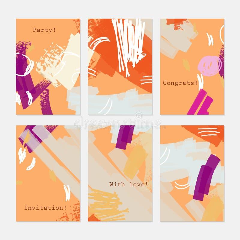 Текстурированный конспект штрихует яркую оранжевую фиолетовую сливк бесплатная иллюстрация
