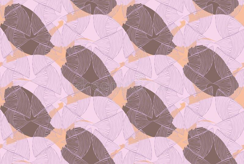Текстурированный коричневый цвет абстрактных seashells фиолетовый иллюстрация вектора