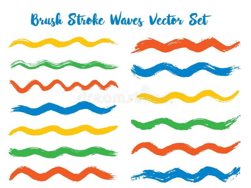 Текстурированный набор вектора волн хода щетки иллюстрация штока