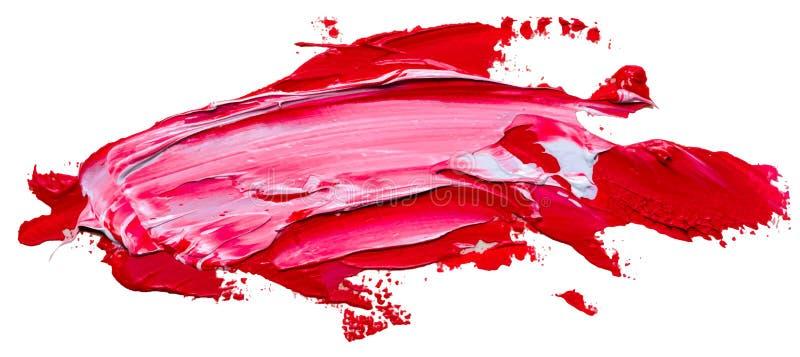 Текстурированный ход красного цвета и кисти белого масла иллюстрация штока