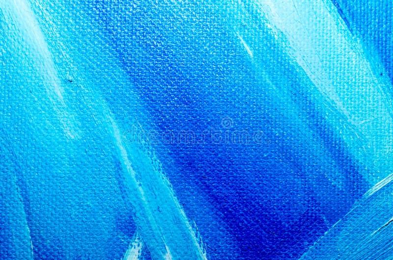 Текстурируйте краску синего масла на крупном плане макроса холста стоковая фотография rf