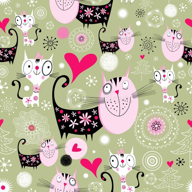 Текстурируйте с котами любовников иллюстрация вектора