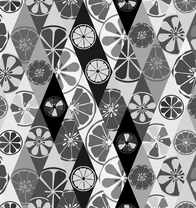 Текстурируйте черно-белое с картиной лимонов белит помадку известью лета витамина свежих фруктов цитруса апельсинов тропическую в иллюстрация вектора