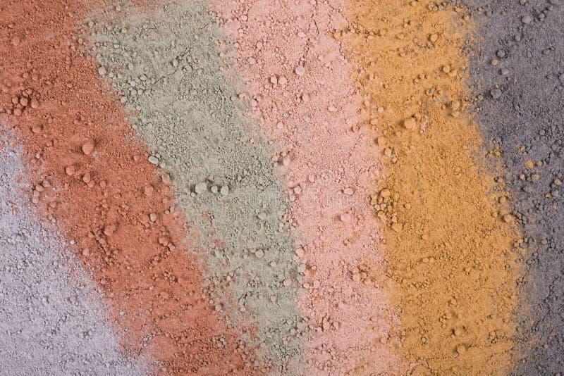 Текстурный градиент от различных косметических порошков глины стоковое фото