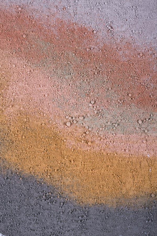 Текстурный градиент от различных косметических порошков глины стоковое изображение