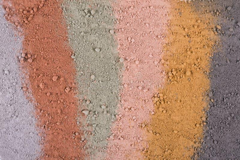 Текстурный градиент от различных косметических порошков глины стоковое фото rf