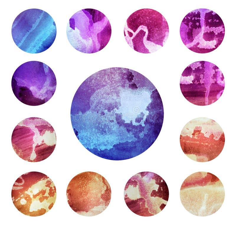 Текстуры круга Watercolour Мега-полезный пакет для иллюстрация штока