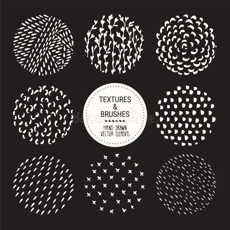 Текстуры руки Grunge вычерченные, ходы щетки Художественное собрание шаблона дизайна Абстрактный набор clipart вектора иллюстрация штока