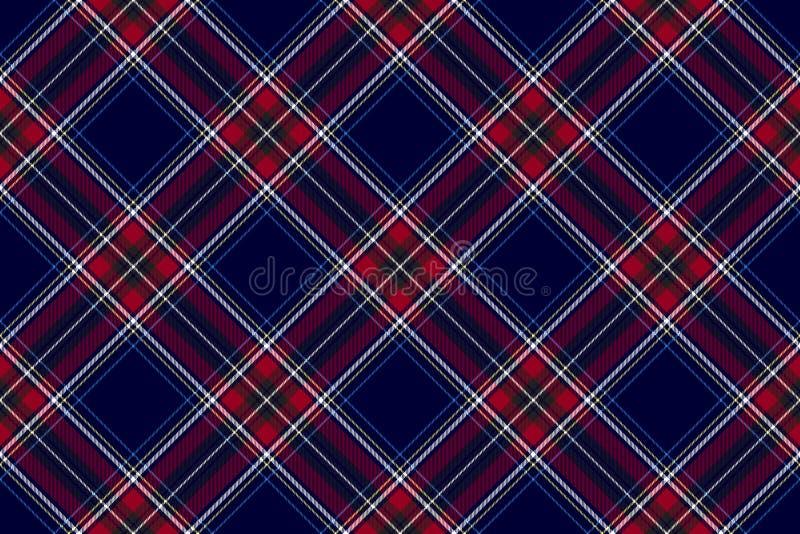 Текстуры ткани проверки голубого красного цвета картина раскосной безшовная бесплатная иллюстрация
