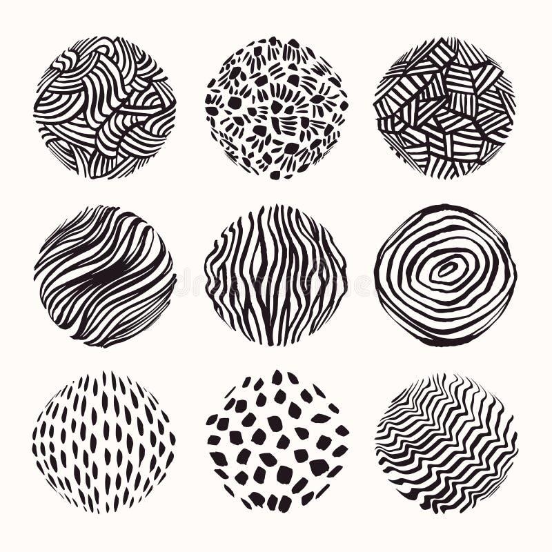 Текстуры Grungy руки вычерченные, ходы щетки Собрание шаблона дизайна Абстрактное clipart вектора установило isolatad на белизне иллюстрация штока
