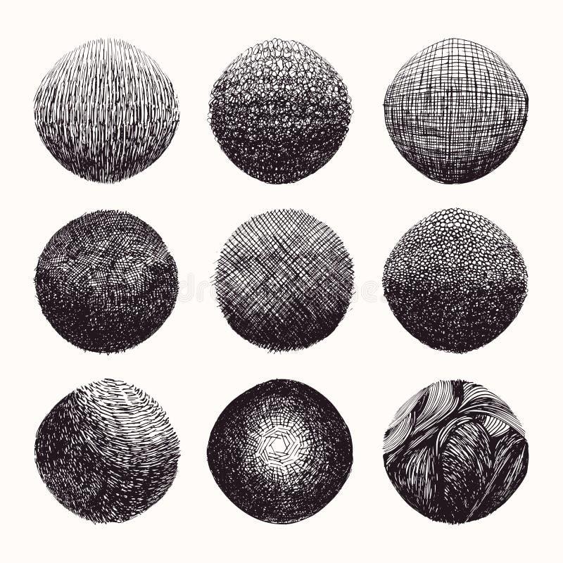 Текстуры Grungy руки вычерченные, ходы щетки Isolatad абстрактного clipart вектора фонов установленное на белой предпосылке иллюстрация вектора