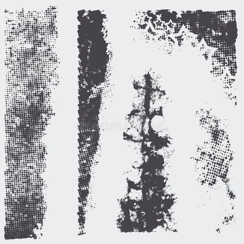 текстуры halftone grunge установленные иллюстрация вектора