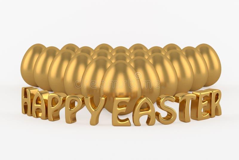 Текст аnd счастливый пасхи золотых яичек бесплатная иллюстрация