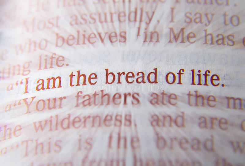 Текст библии - я хлеб жизни - 6:48 Джона стоковая фотография rf