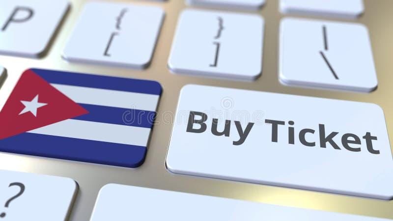 Текст БИЛЕТА ПОКУПКИ и флаг Кубы на кнопках на клавиатуре компьютера Перемещение связало схематический перевод 3D бесплатная иллюстрация