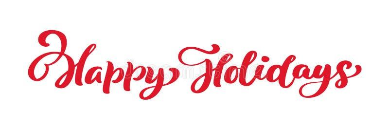 Текст вектора литерности каллиграфии веселого рождества счастливых праздников красный винтажный Для страницы списка дизайна шабло иллюстрация вектора