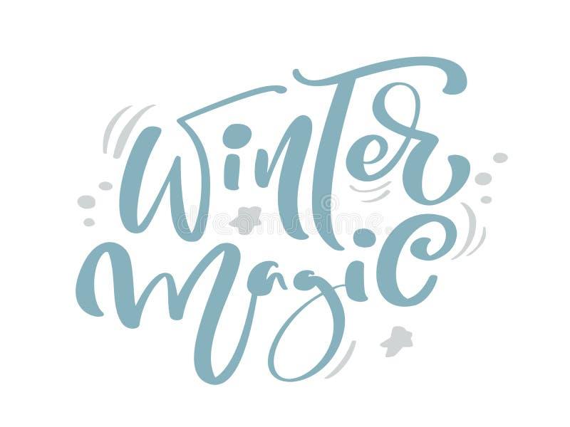 Текст вектора литерности каллиграфии волшебного голубого рождества зимы винтажный с оформлением чертежа зимы Для дизайна искусств иллюстрация штока