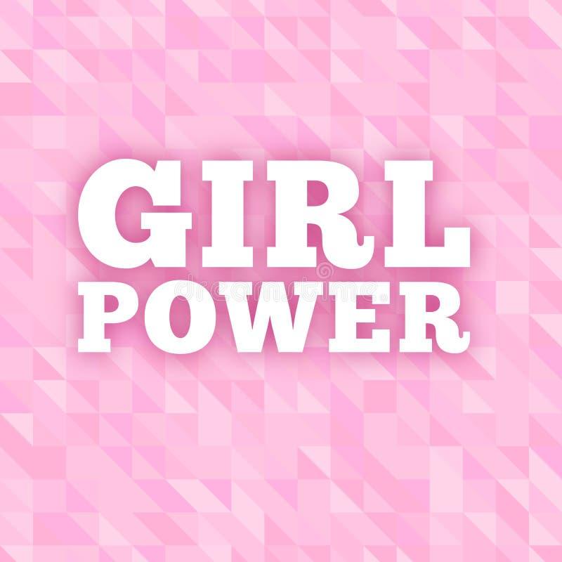 Текст вектора силы девушки на розовой яркой предпосылке Феминизм, движение прав женщин Лозунг для полномочия девушек и иллюстрация вектора
