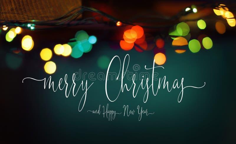 Текст веселого рождества и С Новым Годом! торжества стоковые изображения rf