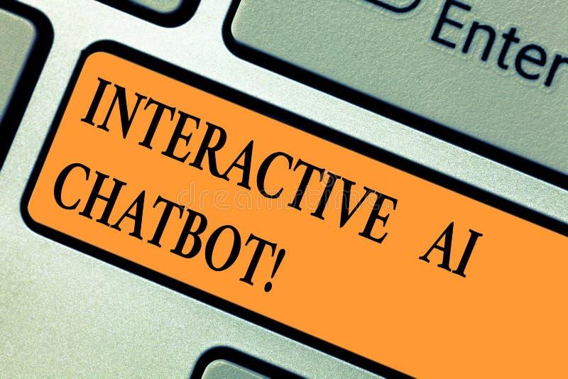 Текст взаимодействующий Ai Chatbot почерка Компьютерная программа смысла концепции которая имитирует разговор huanalysis стоковые фотографии rf
