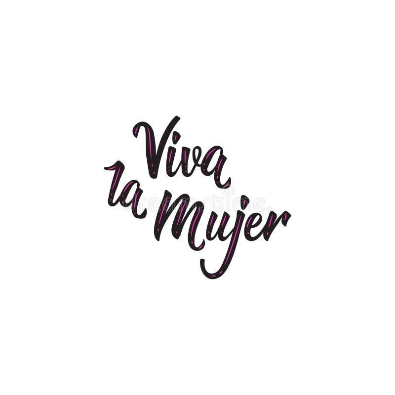 Текст в испанском языке: Приветственные восклицания для женщин Цитата феминизма, лозунг женщины мотивационный литерность вектор т иллюстрация штока