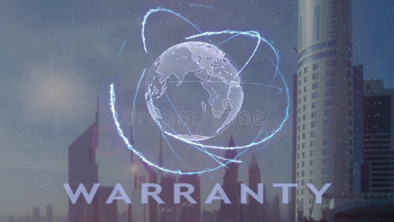 Текст гарантии с hologram 3d земли планеты против фона современной метрополии иллюстрация штока