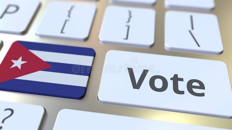 Текст ГОЛОСОВАНИЯ и флаг Кубы на кнопках на клавиатуре компьютера Избрание связало схематический перевод 3D иллюстрация штока