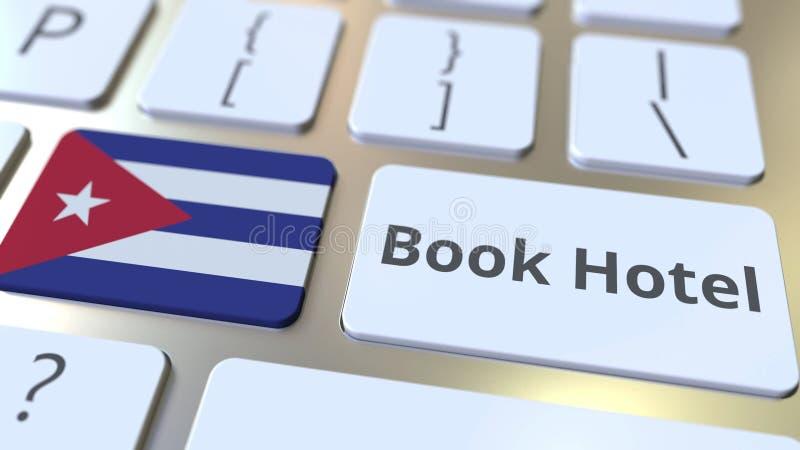 Текст ГОСТИНИЦЫ КНИГИ и флаг Кубы на кнопках на клавиатуре компьютера Перемещение связало схематический перевод 3D бесплатная иллюстрация