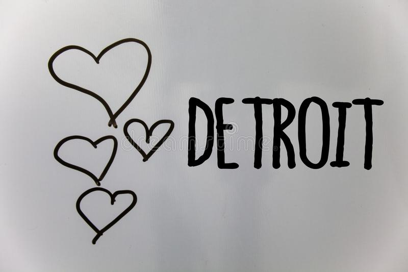 Текст Детройт сочинительства слова Концепция дела для города в столице Соединенных Штатов Америки backg белизны сердец Мичигана M стоковая фотография