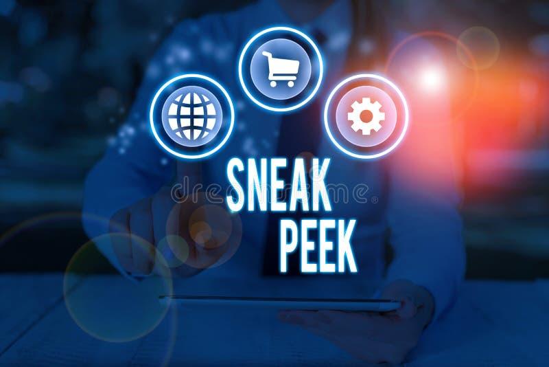 Текст для письма Sneak Peek бизнес-концепция для возможности увидеть что-то до того, как она будет официально представлена стоковые фотографии rf