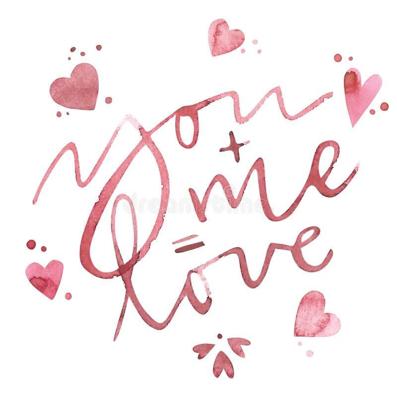 Текст дня валентинок Вы и я равны к влюбленности Романтичная цитата для поздравительных открыток дизайна, татуировка, приглашения иллюстрация штока