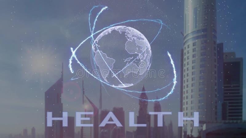 Текст здоровья с hologram 3d земли планеты против фона современной метрополии бесплатная иллюстрация