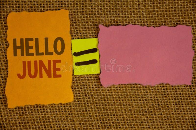 Текст здравствуйте! июнь сочинительства слова Концепция дела для начинать новое сообщение май месяца над startingIdeas лета созда стоковое фото