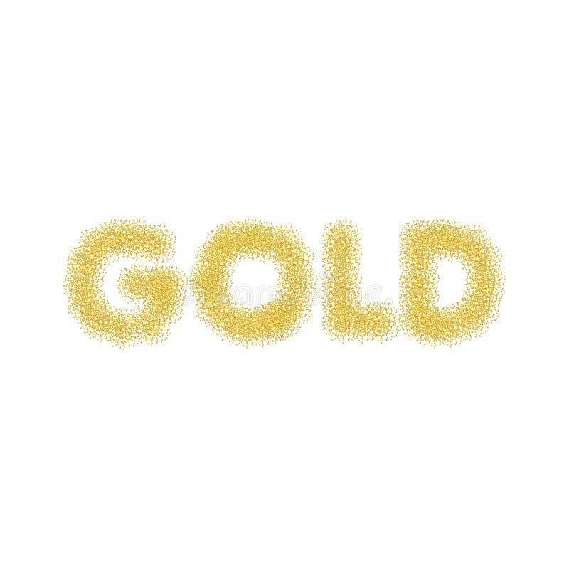 Текст золота Золото сверкнает на белой предпосылке Предпосылка яркого блеска золота стоковые изображения