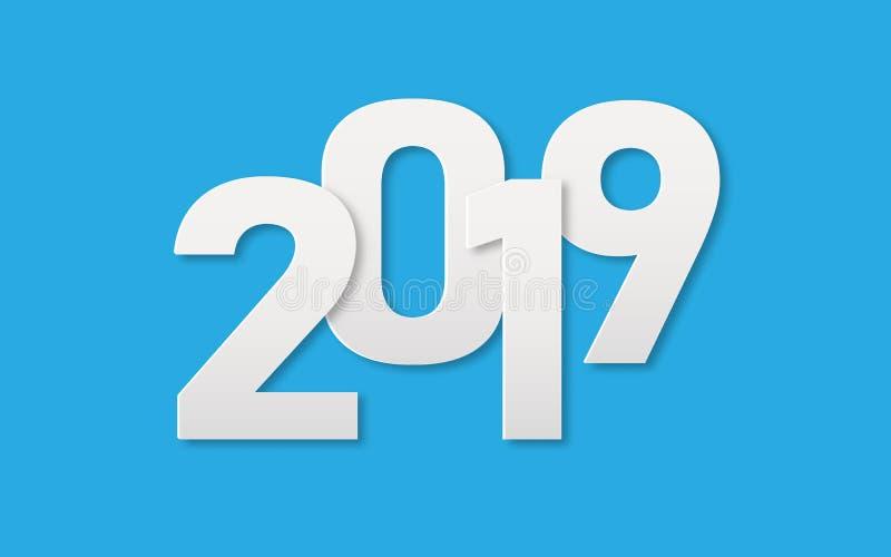 Текст 2019 искусства белой бумаги для предпосылки знамени Нового Года Бумажная концепция отрезка и художественного произведения В иллюстрация вектора