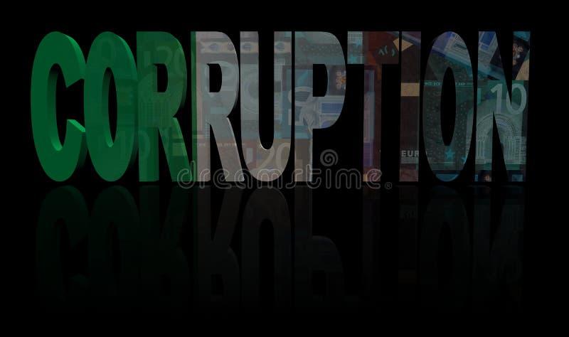 Текст коррупции с итальянской иллюстрацией флага и валюты бесплатная иллюстрация