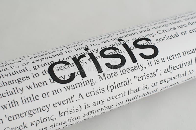 текст кризиса бумажный напечатал на машинке стоковые фотографии rf
