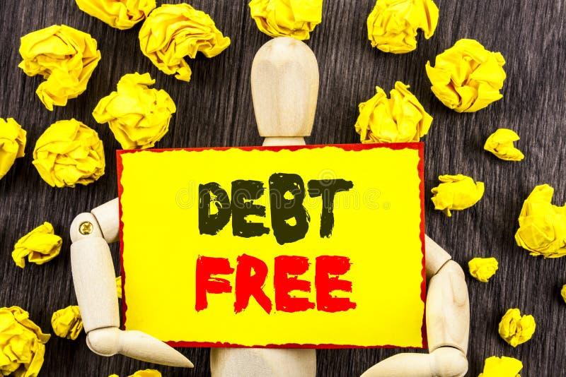 Текст объявления показывая задолженность свободно Свобода знака денег кредита смысла концепции финансовая от ипотеки займа написа стоковое фото