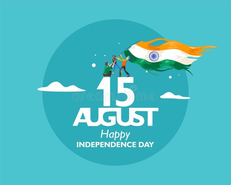 Текст 15-ое августа на День независимости Индии С концепцией индийские люди держа флаг порхая на облаке Illustratio вектора иллюстрация вектора